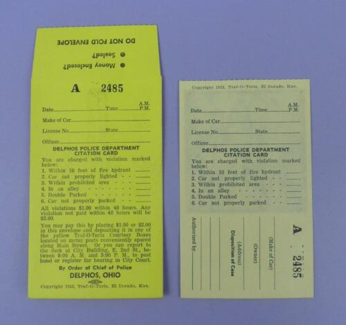 Delphos, Ohio Police Department 1950s Unused Citation Card & Fine Envelope