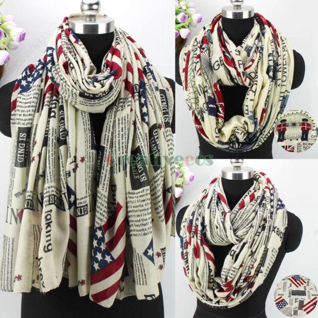 Fashion Women's US/UK Flag Pattern Polyester Long/Infinity Scarf Ladies Scarves