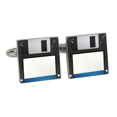 Retro Computer Floppy Disc Diskette FDD Cufflinks BNIB