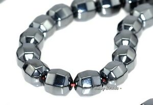 8MM NOIR BLACK HEMATITE GEMSTONE FACETED ROUND BARREL DRUM 8X8MM LOOSE BEADS 16/""