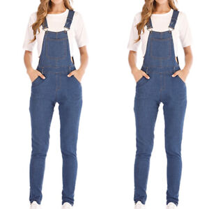 Womens Denim Jeans Full Length Overall Ladies Straps Jumpsuit Dungaree Trousers