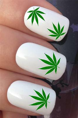 WATER NAIL TRANSFERS GREEN CANNABIS WEED HASH DOPE LEAF DECALS STICKERS *362