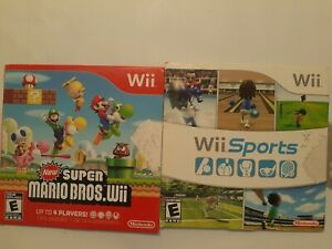 Super-Mario-Bros-Wii-amp-Wii-Sports-Lot-of-2-Games-preowned