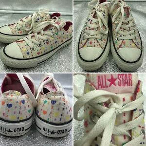 Converse-All-Star-Size-3-35-White-Heart-Design-Low-Tops-Trainers-Girls-Womens