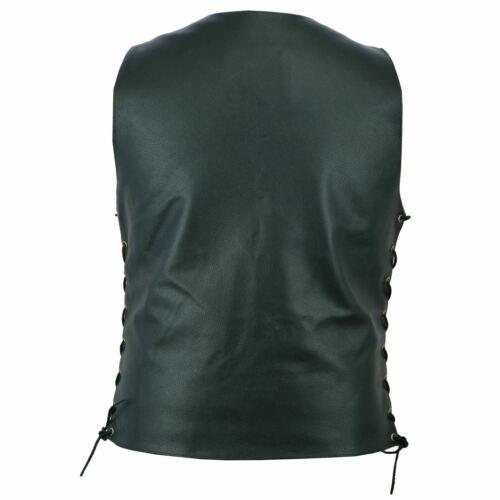 Men/'s Genuine Leather 10 Pocket Biker Leather Vest Concealed Carry Arms-Black