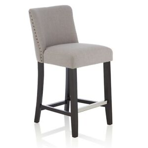 Details About Set Of 2 Oliver Counter Height Padded Fabric Seat Black Legs Bar Stool Back Rest