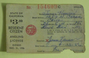 Details about 1956 California Dept of Fish & Game Resident Citizen Angling  Fishing License