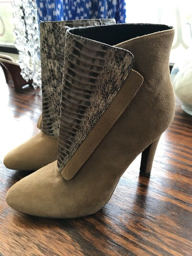 Rebecca Minkoff Dante Taupe Snake & Suede Leather Ankle Brown Tan boot 7.5