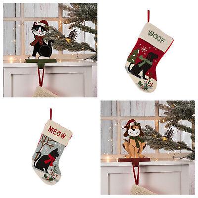 Glitzhome Cute Dog//Cat Christmas Stocking /& Stocking Holder Xmas Gift Home Decor