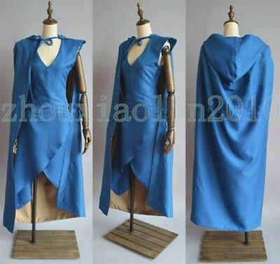 Game of Thrones Daenerys Targaryen Blue Dress Cosplay Costume Good Made Any Size