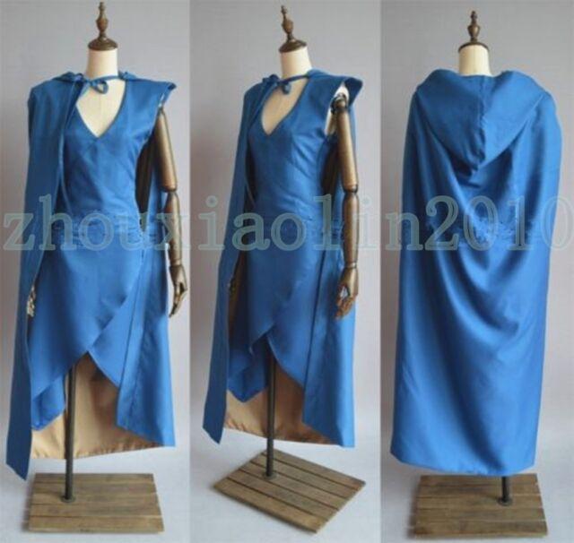 Game of Thrones Daenerys Targaryen Blue Dress Cosplay Costume Good Made Any Size