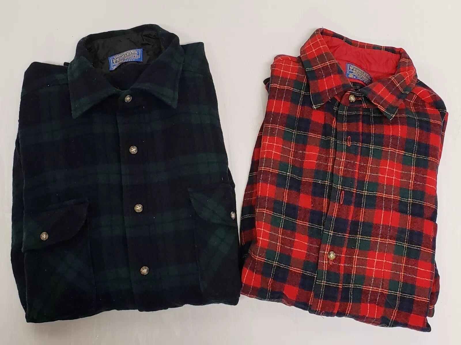 Vtg PENDLETON Lot Red Wool Flannel Suede Elbow Patches   Green Tarten Men's XL