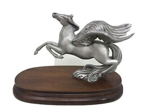 """VTG Chilmack Fine Pewter Pegasus Winged Horse signed by R Sylvan 9"""" Statue GUC"""