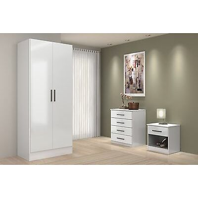 White High Gloss Bedroom Set Sold as Set or Separately- Chest, Drawers, Wardrobe