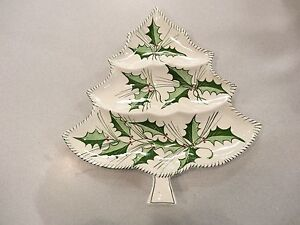Details About Vintage Ceramic Christmas Tree Serving Dish Hand Painted Hollymade In Italy