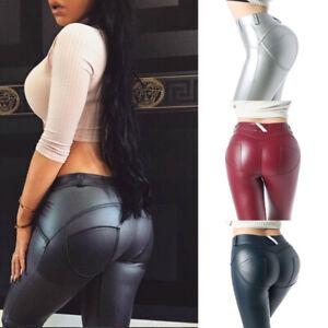 Women-Stretch-Pencil-Slim-Pants-PU-Leather-Trousers-Skinny-High-Waist-Leggings