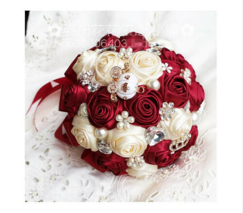 Burgundy Mixed Roses Artificial Satin Wedding Bridal Bouquet Bride Hand Flower
