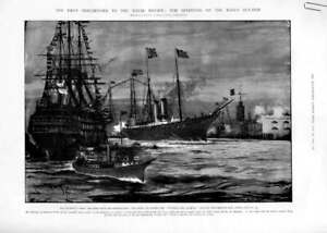 Original-Old-Antique-Print-Coronation-Naval-Review-1902-Ships-Spithe-20th