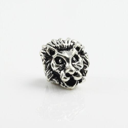 """2 Metallperlen /""""Löwe/"""" Armband herstellen perlenband lion Ø 5 mm antik silber"""