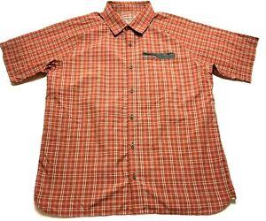 Merrell-Mens-Orange-Plaid-Front-Pocket-Button-Front-Shirt-Size-XL