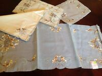 Vintage Hand Embroidered Silk Table Runner, 12 Placemats & 12 Linen Napkins