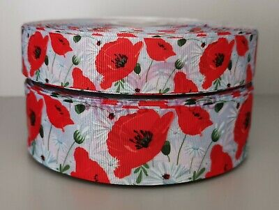 """Grosgrain Poppy Floral Flower Ribbon 1/"""" 25mm"""
