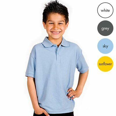 KIDS PIQUE POLO SHIRT BOYS GIRLS UNISEX SHORT SLEEVE TOP CASUAL