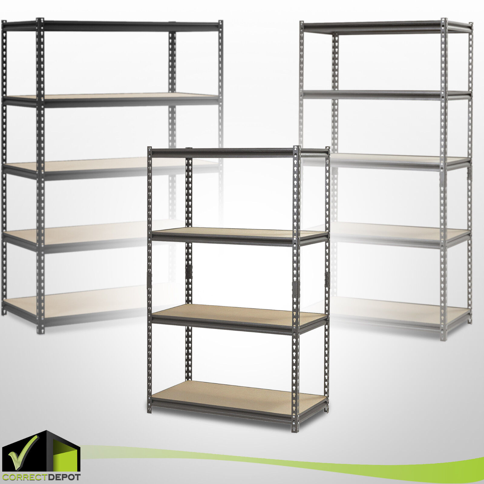 Heavy Duty Muscle Rack Adjustable Steel Storage Metal Shelves 4 5 Levels Units