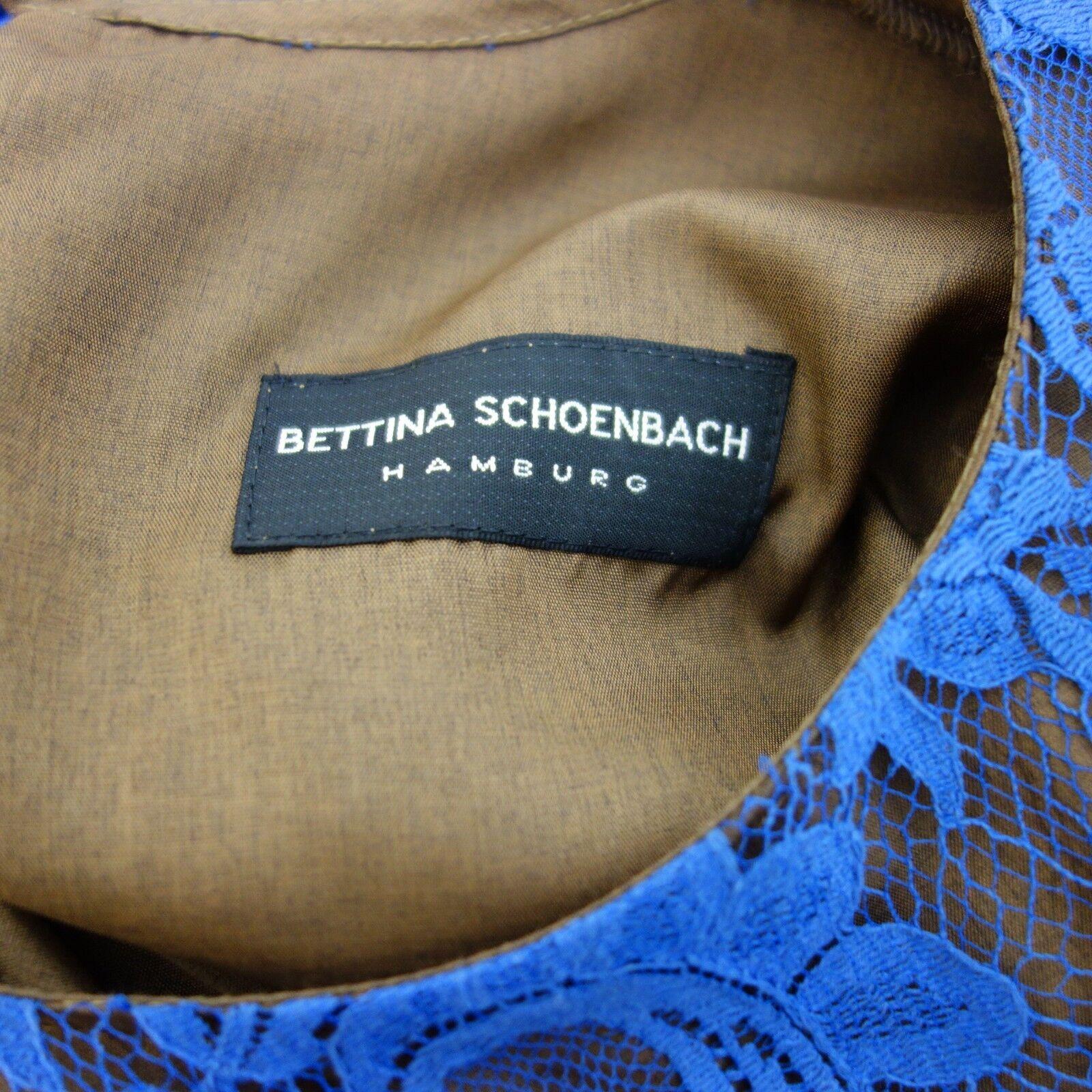 Bettina Schoenbach Blusa Donna Maglia Gr 36 Marronee Blu Pizzo Pizzo Pizzo Seta Lana 9b8659