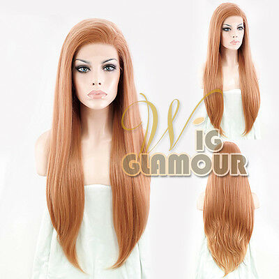 "Long Wavy 24"" Pinkish Orange Lace Front Wig Heat Resistant"