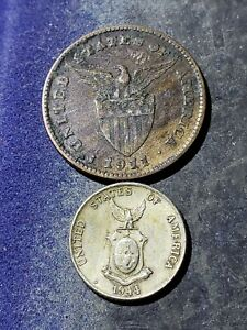 1911-S-Philippines-One-Centavos-Coin-SILVER-1944-D-10-Centavos-Coin-1266