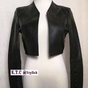f0a8f994734 Image is loading Women-100-Genuine-Lambskin-Leather-Crop-Moto-Bolero-