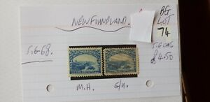 2X-NEWFOUNDLAND-3C-1897-Cape-Bonavista-STAMP-M-H-amp-G-U