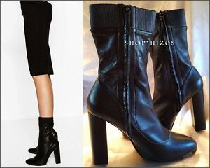 e388d781828c NEW ZARA HIGH CHUNKY HEEL STRETCH LEATHER ANKLE BOOTS 5106 101 SIZE ...