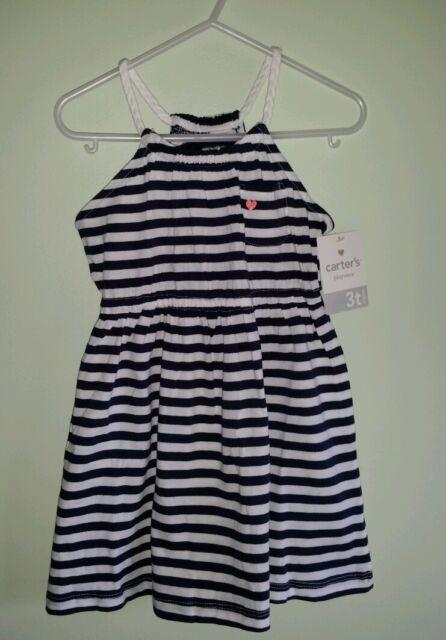 72a06f45d8794 NEW  24 Carters Girls 3T Sleeveless Sun Dress NAVY BLUE WHITE Nautical   218415