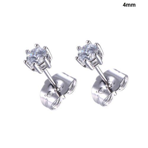 "3 /& 4mm Gift 9k 9ct White /""GOLD FILLED/"" Ladies White Stones Pin stud Earrings"