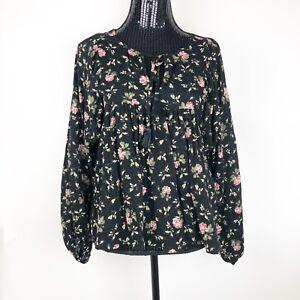 Denim-amp-Supply-Ralph-Lauren-Women-039-s-Shirt-Size-XS-Floral-Pink-Black
