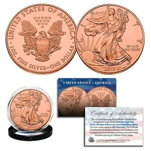 2019-Genuine-1-OZ-999-Fine-Silver-American-Eagle-US-Coin-FULL-24KT-ROSE-GOLD