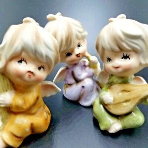 Vintage Porcelain Cherubs Angels 3 Figurines Hand Painted Japan Christmas