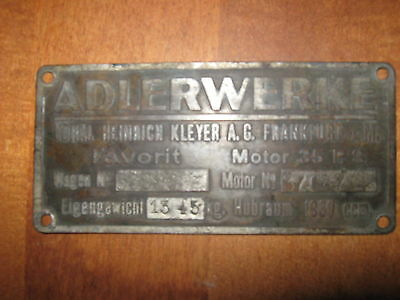Adler Favorit Adlerwerke 1930 Vorkrieg/prewar Car Plate Harmonious Colors Car Badges Automobilia