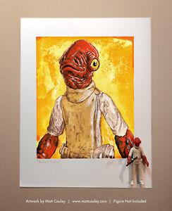 Star Wars ADMIRAL ACKBAR Vintage Kenner Action Figure ORIGINAL ART PRINT 3.75