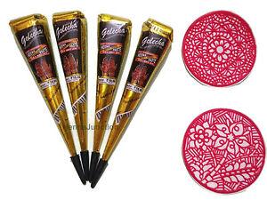 4 Black Color Henna Cones 2 Stencils Temporary Tattoo Kit Mehandi Body Art Ink Ebay