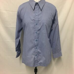 Dark-Blue-And-White-Check-Men-s-Shirt-Size-L-Excellent-Condition