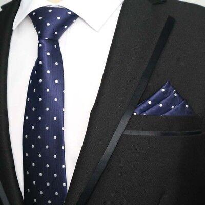 Men New Polka Dots Dark Blue Silk Tie Pocket Square Handkerchief Set Lot HZ074