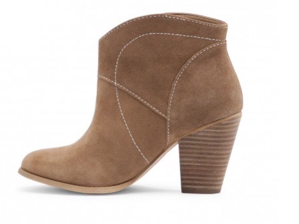 SOLE SOCIETY SLIP ON SUEDE BOOTIE BOOTIE BOOTIE WESTERN STYLE COFFEE BROWN SIZE 5 M  NEW 8a0118