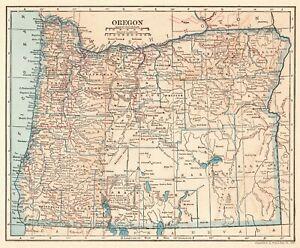 Vintage Oregon Map.1925 Antique Oregon State Map Vintage Map Of Oregon Gallery Wall Art