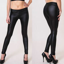 Damen Leggings Stretch jeggings leggins PU Leder Leggins hüfthoch Hose XS S M