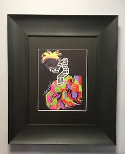 Original-Gallery-Mixed-Media-11-034-x14-034-034-Abstract-Jack-034-Painting-Signed-Mat-Framed