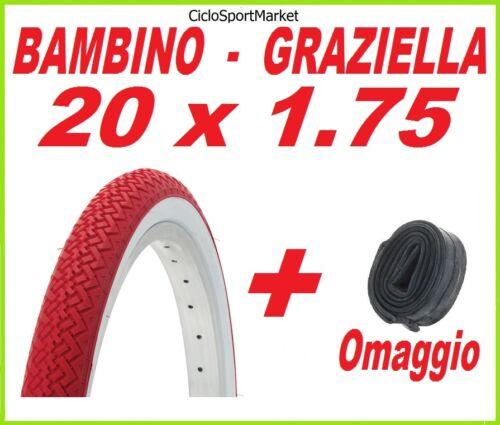 ROSSO  bici GRAZIELLA BAMBINO Copertone 20 X 1.75 BIANCO CAMERA D/'ARIA