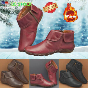 Womens-Retro-Zipper-Ankle-Boots-Lady-Leather-Flat-Heel-Booties-Winter-Warm-Shoes
